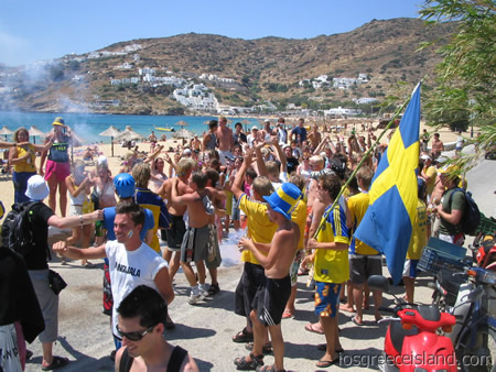 Swedish Midsummer Party on Mylopotas Beach in Ios Greece