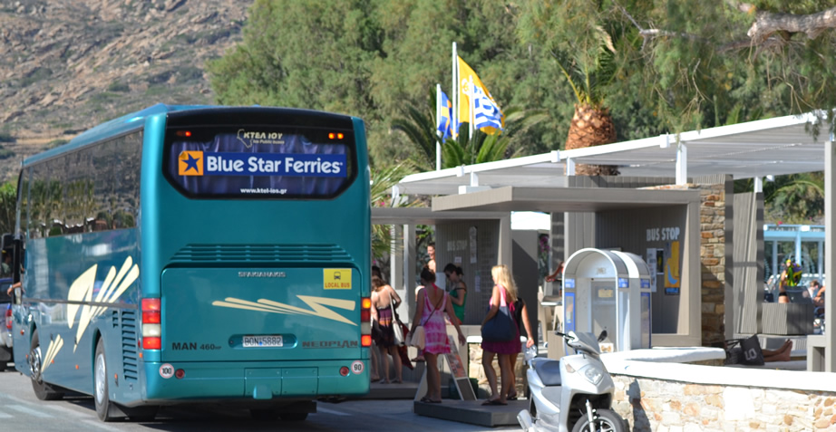 A bus at Mylopotas Beach in Ios Greece